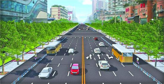 改造后的道路效果图 图片由交管部门提供