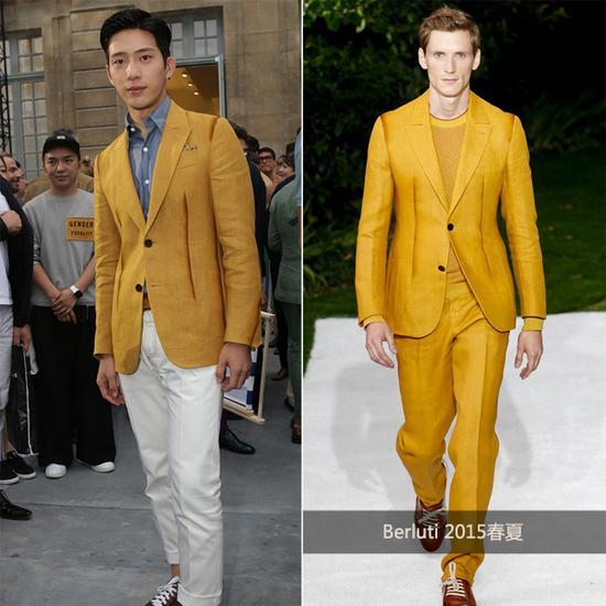 井柏然穿黄色西装套装
