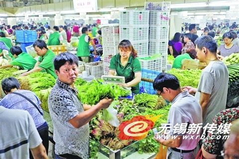 昨天,市民在农贸市场购买叶菜。