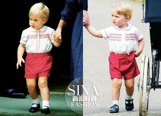 乔治的白衣红裤和20年前威廉小时候的扮相简直一摸一样
