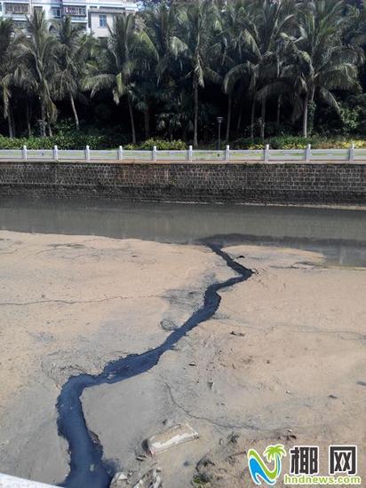 黑乎乎的污水排入美舍河