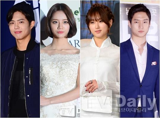 从左至右,朴宝剑、Girl's Day成员惠利、柳惠英、高庚杓