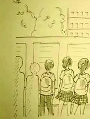 初三女生手绘青春校园致敬母校