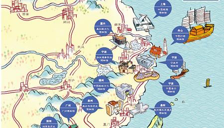 中国首张手绘航海文化地图在宁波面世