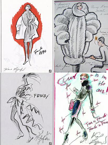 老佛爷为Fendi设计的部分手稿