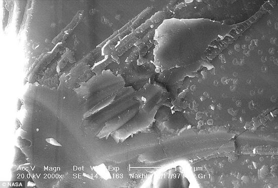 Nakhla陨石切片样品的显微照片。研究人员在这块1.7克重的样品中发现了这种矿物,而这块陨石本身是由英国伦敦的自然历史博物馆保存的