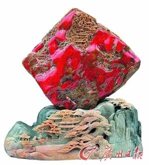 昌化雞血石雕件。