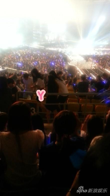 网友拍到刘雯出现在观众席