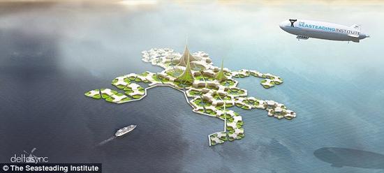 """该项目发言人奎尔克说:""""第一座城市将建在一个由11个矩形和五边形平台构成的网络上,所以它可根据居民需要重新布置。""""照片展示了这座漂浮城市的模型。"""