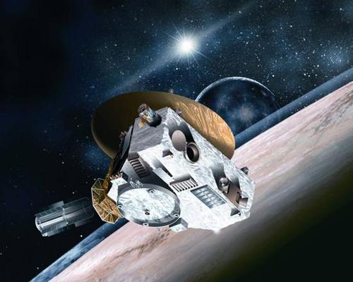 艺术示意图:飞行在冥王星附近的新视野号探测器