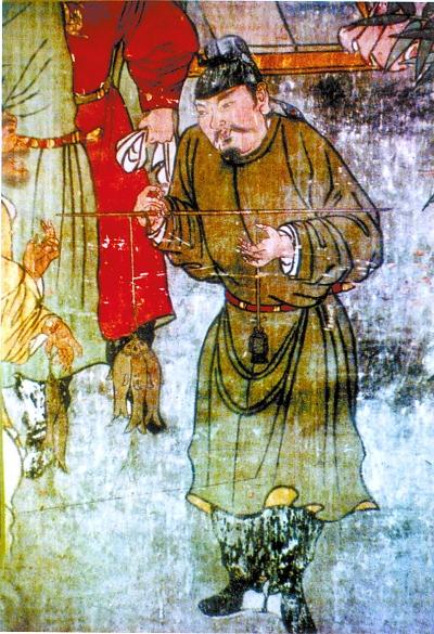 元代山西廣勝寺壁畫中的執官秤稱魚圖
