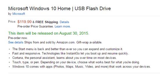 美国亚马逊上的U盘版Windows 10介绍页面