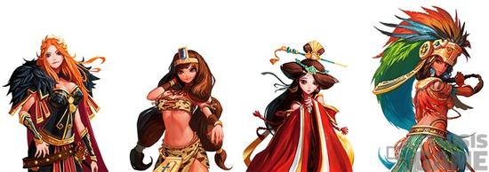 各文明的辅佐官,从左到右依次是,罗马的阿奎利亚,埃及的娜芙蒂蒂,中国的王昭君,阿兹特克的美亚