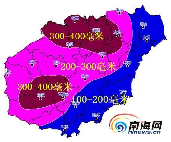 海南18日~20日累积雨量预报图(单位:毫米)
