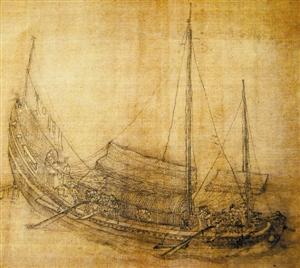 停在海面上准备进港的雇用占城船工的远洋大船。
