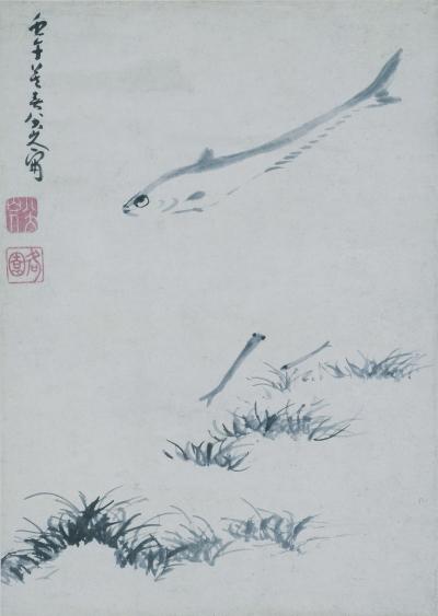 游鱼图轴 清 朱耷 中国国家博物馆藏