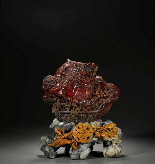 当代  鸡血石血王花篮 Contemporary King of bloodstone blood flower basket L:700px 重:6kg