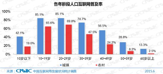 图4各年龄段人口互联网普及率