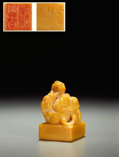 田黄石雕双龙如意钮方章(拍品编号:1314)起拍价¥450,000