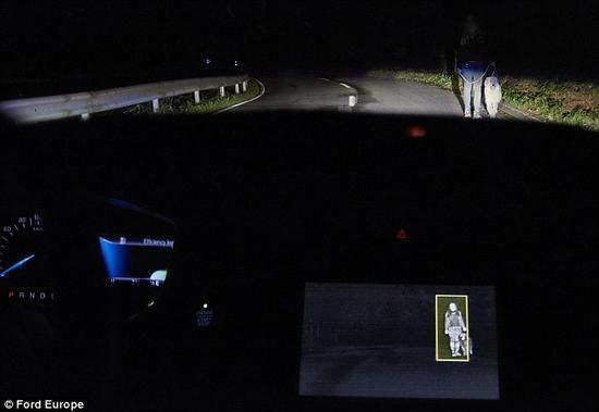 聚光灯照亮目标从而引起驾驶员的注意,帮助驾驶员提早采取措施避让。