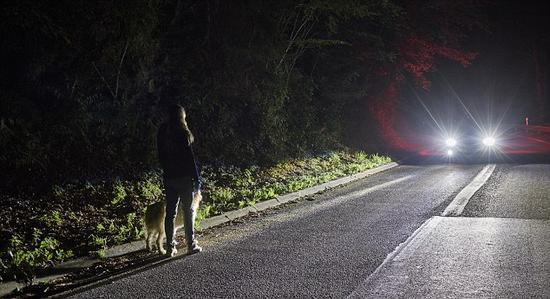 """""""基于相机的先进前照灯系统""""采用可移动旋转的聚光灯,用于照亮红外相机所探测到的人或动物。聚光灯沿着目标的方向在路面上投射出明亮的光柱,从而让目标更加清晰可见。"""