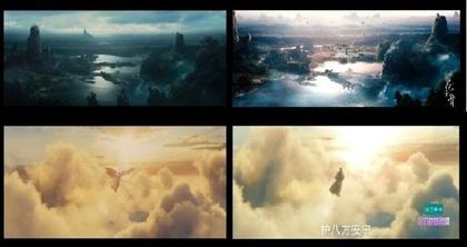 《黑魔女:沉睡魔咒》中的场景与主角飞天画面(左图),都被原封不动照抄到《花千骨》中(右图)