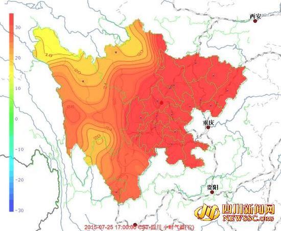 四川气温地图热得像一块烧红的铁块