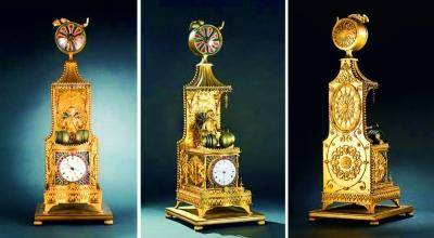 清乾隆銅鎏金轉花西洋童子打樂鐘