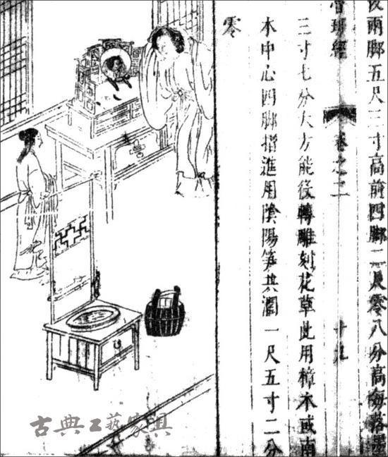 """2.萬曆本《魯班經》卷二家具部分之""""鏡架鏡箱面架式""""插圖"""