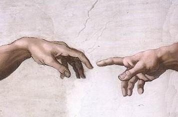 米开朗基罗,《创造亚当》(细节) 图片:via Wikimedia