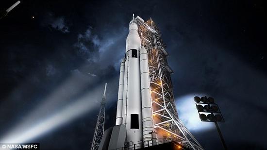 """艺术构想图:""""太空发射系统""""。2018年,美国宇航局将利用强大的""""太空发射系统""""发射""""猎户座""""号太空船。近日,科学家们完成了""""太空发射系统-助推器1""""关键技术的最终评估工作。"""