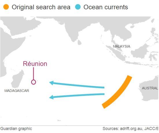 MH370原始搜寻区和发现残骸的岛屿。卫报制图
