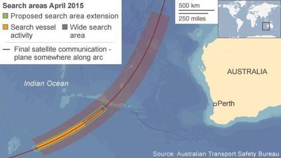 MH370搜寻区。BBC制图