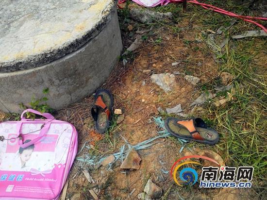 死者遗留下的鞋子(南海网记者刘培远摄)