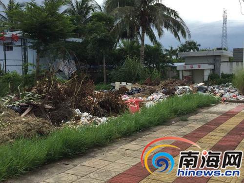因清理不及时,该学校垃圾堆积如山。