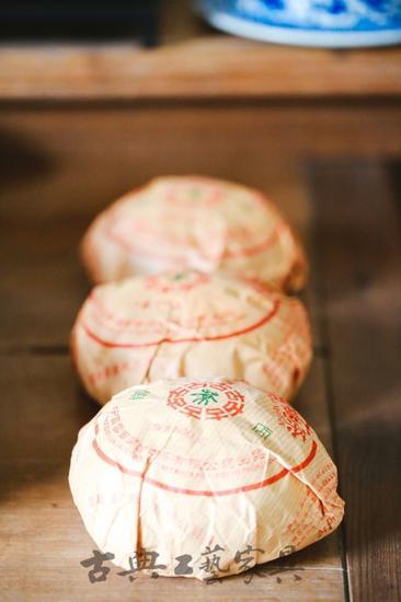 唐先生鍾愛普洱,收藏的多為生普精品,圖為金瓜普洱系列。