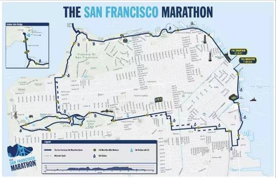 2015旧金山马拉松民间道路图和高度表。