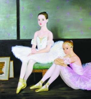 阿娜斯塔西娅 《女芭蕾舞者在工作室》 110cm×110cm 2013年