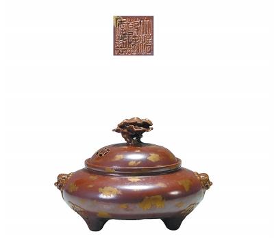 清代紫金釉瓷熏爐