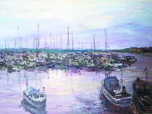 维克多·叶菲莫维奇 《游艇在港口》 50cm×80cm 布面油画 2015年