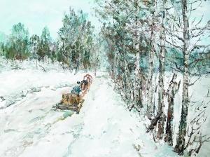 维克多·叶菲莫维奇 《回家的道路》 50cm×60cm 2014年