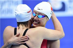 世锦赛女子50米仰泳傅园慧夺冠 美女刘湘摘铜