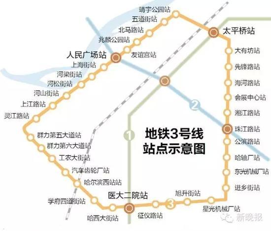 地铁三号线-详解哈尔滨三号线施工进展 分两期工程今年开工图片