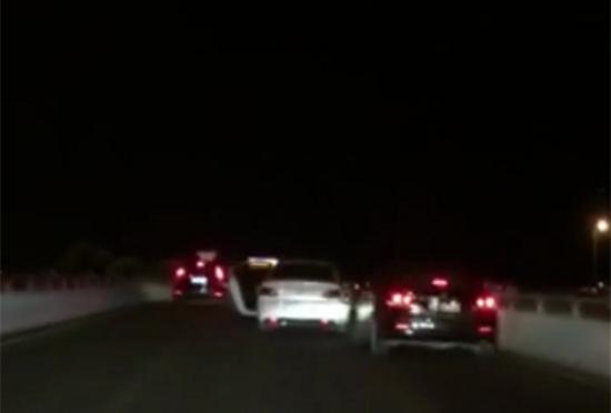 被抢车辆逃走过程被路过司机拍到