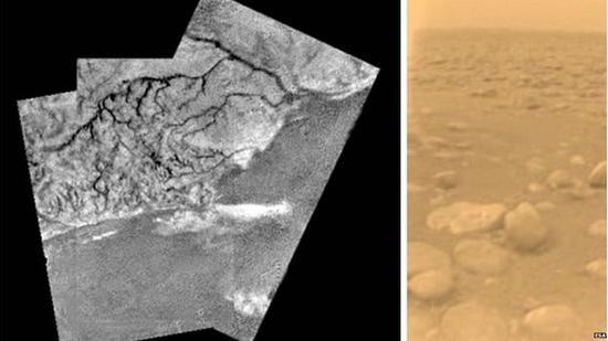 """从土卫六上空进行的拍摄:一个巨大的胡床以及头顶的白云。右图是惠更斯号在土卫六表面拍摄的第一张彩色图片:橙色的天空以及冰块组成的""""石头""""。"""