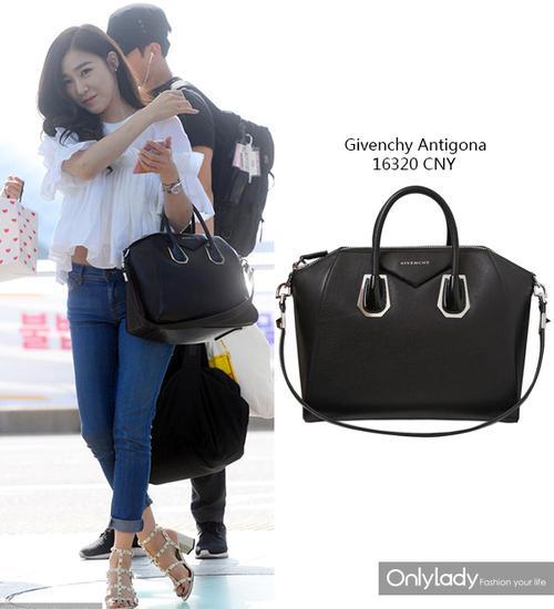 又大又沉的Givenchy Antigona,娇小的Tiffany快是hold不住了