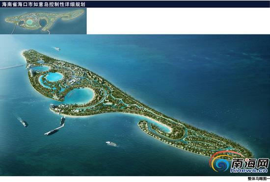 如意岛整体鸟瞰图。(本组图片均来自海口市规划局官网)