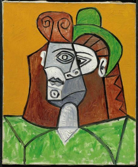 毕加索-戴绿帽子的女人