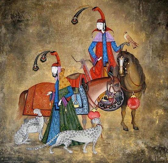 十三世纪蒙古民族从大分裂走向大统一,这个时期的马三五百为一群,每隔三四年分一次群,强健的公马带领众多母马繁衍生息。