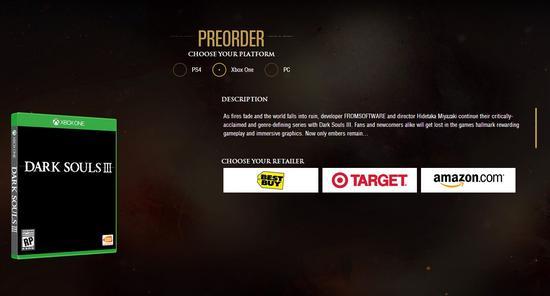 《黑暗之魂3》主机版开启预售